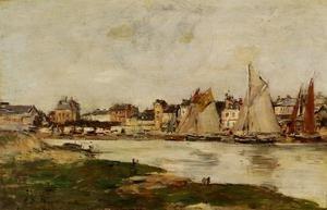 Famous paintings of Flood & High Tide: View of the Port of Trouville, High Tide