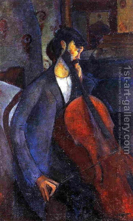 The Cellist I by Amedeo Modigliani - Reproduction Oil Painting