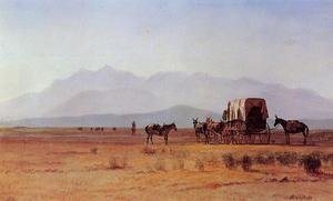 Famous paintings of Horses & Horse Riding: Surveyor's Wagon in the Rockies
