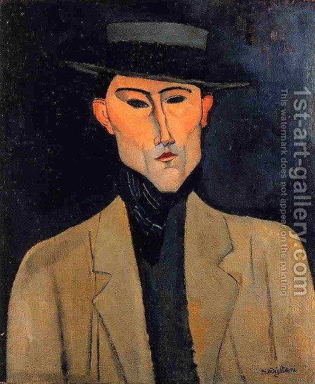 Portrait of a Man with Hat by Amedeo Modigliani - Reproduction Oil Painting