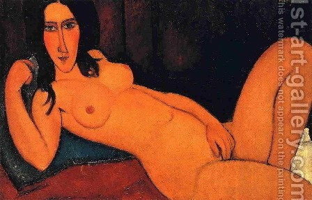 Amedeo Modigliani: Reclining Nude with Loose Hair - reproduction oil painting