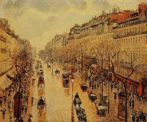 Famous paintings of Horses & Horse Riding: Boulevard Montmartre: Afternoon, in the Rain