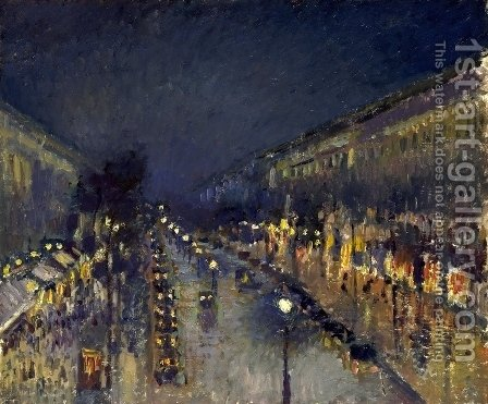 Boulevard Montmartre; Night Effect by Camille Pissarro - Reproduction Oil Painting