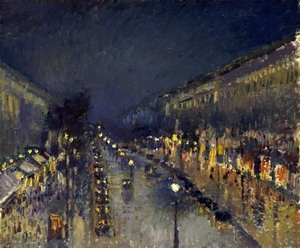 Famous paintings of Clouds & Skyscapes: Boulevard Montmartre; Night Effect
