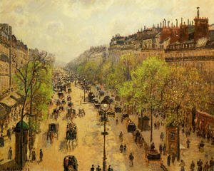 Famous paintings of Clouds & Skyscapes: Boulevard Montmartre: Spring