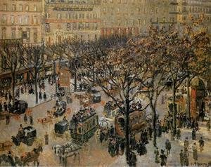 Famous paintings of Horses & Horse Riding: Boulevard des Italiens: Morning, Sunlight