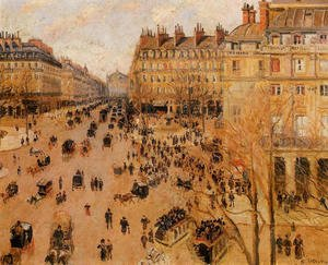 Famous paintings of Horses & Horse Riding: Place du Thretre Francais: Sun Effect