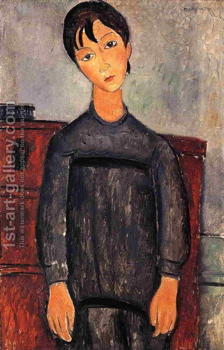 Little Girl in Black Apron by Amedeo Modigliani - Reproduction Oil Painting