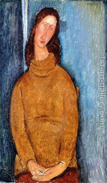 Jeanne Hebuterne in a Yellow Jumper by Amedeo Modigliani - Reproduction Oil Painting