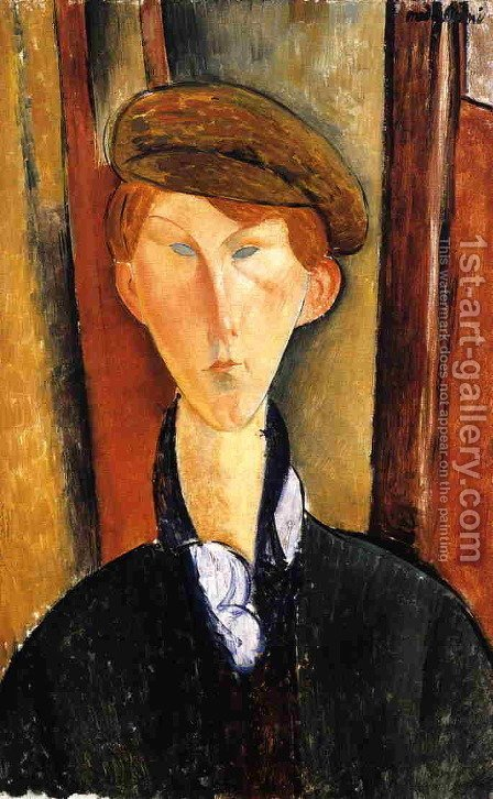 Young Man with Cap by Amedeo Modigliani - Reproduction Oil Painting
