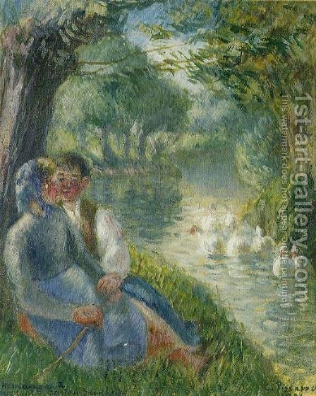 Camille Pissarro: Lovers Seated at the Foot of a Willow Tree - reproduction oil painting