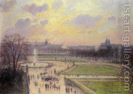 Camille Pissarro: The Bassin des Tuileries: Afternoon - reproduction oil painting