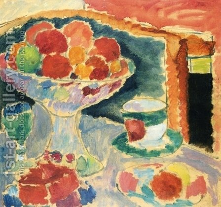 Still Life with Fruit Stand, Bohemian Glass and Empire Cup by Alexei Jawlensky - Reproduction Oil Painting