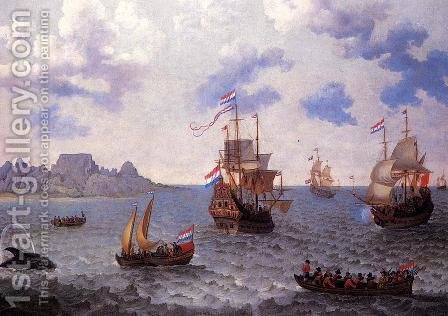 The Man=o'-War 'Amsterdam' and other Dutch Ships in Table Bay by Adam Willaerts - Reproduction Oil Painting