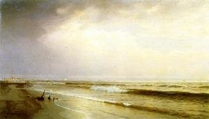 Famous paintings of Clouds & Skyscapes: Seascape with Distant Lighthouse, Atlantic City, New Jersey