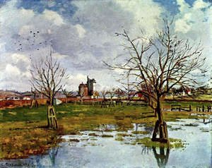 Famous paintings of Flood & High Tide: Landscape with Flooded Fields