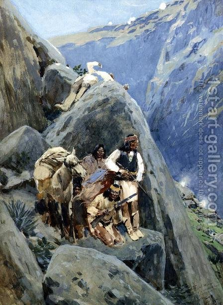 Apache Indians in the Mountains by Henry Farny - Reproduction Oil Painting