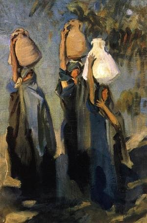 Reproduction oil paintings - Sargent - Bedouin Women Carrying Water Jars