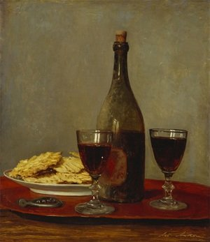 Famous paintings of Still Life: Still Life: Two Glass of Red Wine, a Bottle of Wine; a Corkscrew and a Plate of Biscuits on a Tray