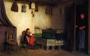 Famous paintings of Furniture: An Interior with Mother and Children