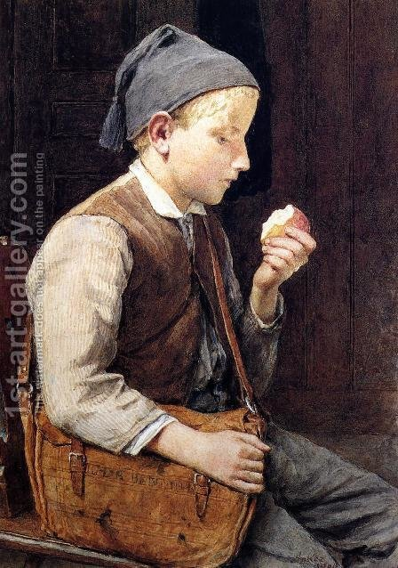 Boy Eating an Apple by Albert Anker - Reproduction Oil Painting