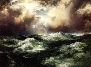 Famous paintings of Storms & Rough Water: Moonlit Seascape