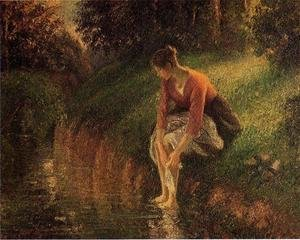Reproduction oil paintings - Camille Pissarro - Young Woman Bathing Her Feet