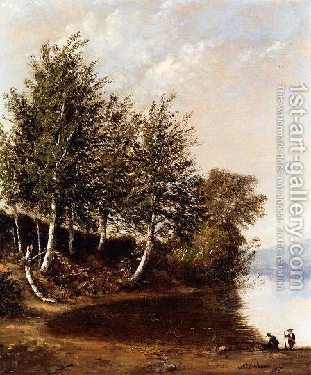 Figures in a Landscape by Alfred Thompson Bricher - Reproduction Oil Painting