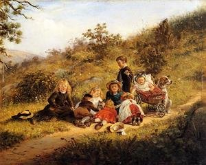 Reproduction oil paintings - Edward Lamson Henry - The Sunny Hours of Childhood