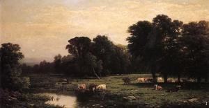 John William Casilear reproductions - Bucolic Landscape with Cows