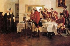 Red Coat Soldiers Toasting the Ladies of the House