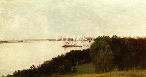 Reproduction oil paintings - John Frederick Kensett - Newport Harbor and the Home of Ida Lewis