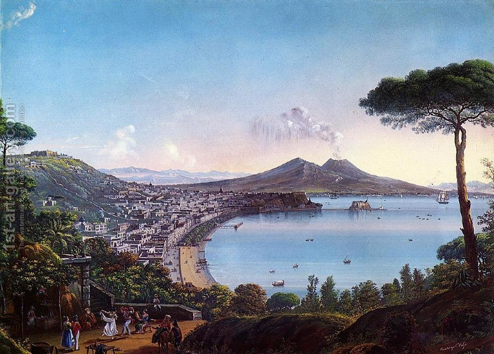 Huge version of The Bay of Naples with an American Frigate