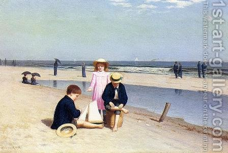 Samuel S. Carr: Children on the Beach - reproduction oil painting