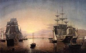 Reproduction oil paintings - Fitz Hugh Lane - Boston Harbor at Sunset