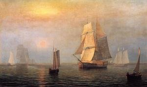 Reproduction oil paintings - Fitz Hugh Lane - Shipping in Down East Waters