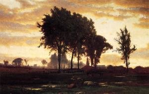 Reproduction oil paintings - George Inness - Landscape-sunset