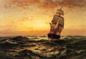 Famous paintings of Ships & Boats: Ship at Sea, Sunset