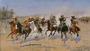 Famous paintings of Horses & Horse Riding: A Dash for the Timber