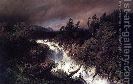 Mountain Landscape and Waterfall by Herman Herzog - Reproduction Oil Painting