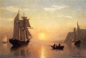Reproduction oil paintings - William Bradford - Sunset Calm in the Bay of Fundy
