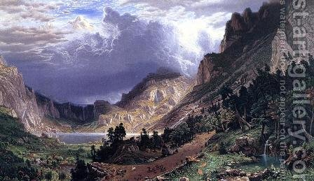 Storm in the Rocky Mountains, Mt. Rosalie by Albert Bierstadt - Reproduction Oil Painting