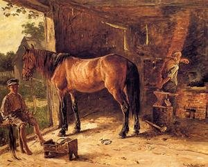 Famous paintings of Studios and Workshops: The Blacksmith Shop