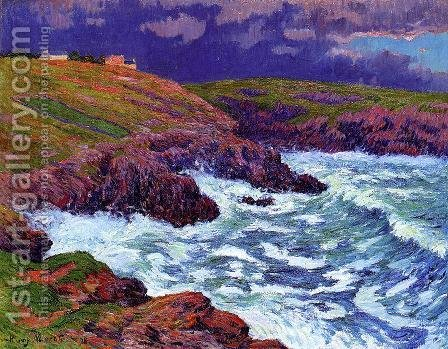 Storm, the Coast of Finestere by Henri Moret - Reproduction Oil Painting