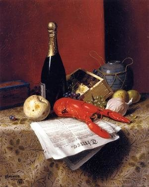 Still Life with Lobster, Fruit, Champagne and Newspaper