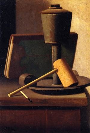 Still Life with Book, Lamp, Pipe and Match