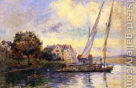 The Banks of Lake Geneva, St. Gingolph by Albert Lebourg - Reproduction Oil Painting