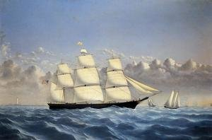 Famous paintings of Clouds & Skyscapes: Clipper Ship 'Golden West' of Boston, Outward Bound