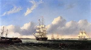 Reproduction oil paintings - William Bradford - The Port of New Bedford from Crow Island