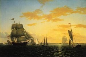 Reproduction oil paintings - William Bradford - New Bedford Harbor at Sunset